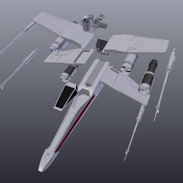 x wing spacecraft fighter 3d model 3ds fbx blend dae obj 215101
