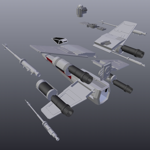 x wing spacecraft fighter 3d model 3ds fbx blend dae obj 215102
