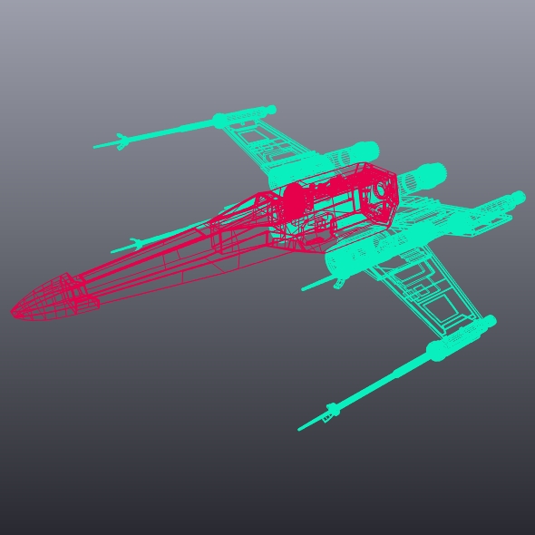 x wing spacecraft fighter 3d model 3ds fbx blend dae obj 215104