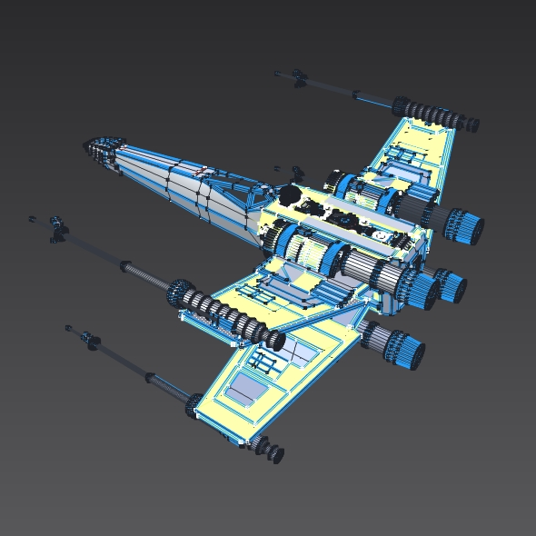 x wing spacecraft fighter 3d model 3ds fbx blend dae obj 215106