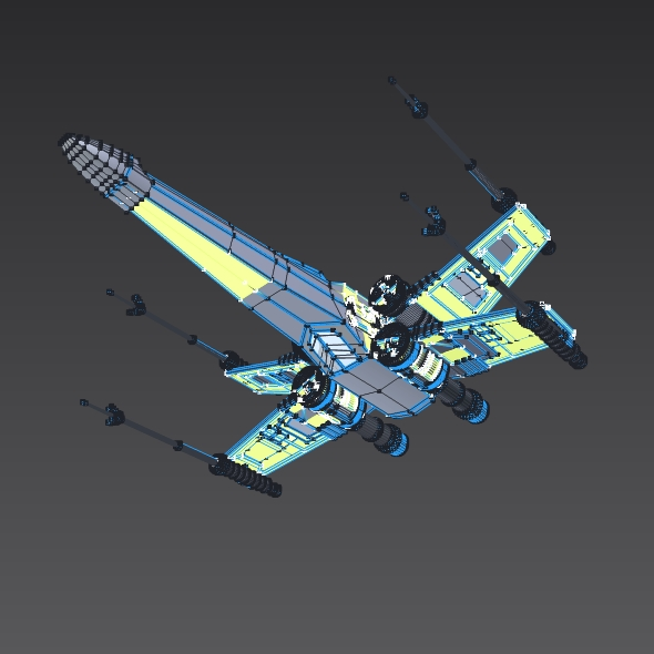 x wing spacecraft fighter 3d model 3ds fbx blend dae obj 215107