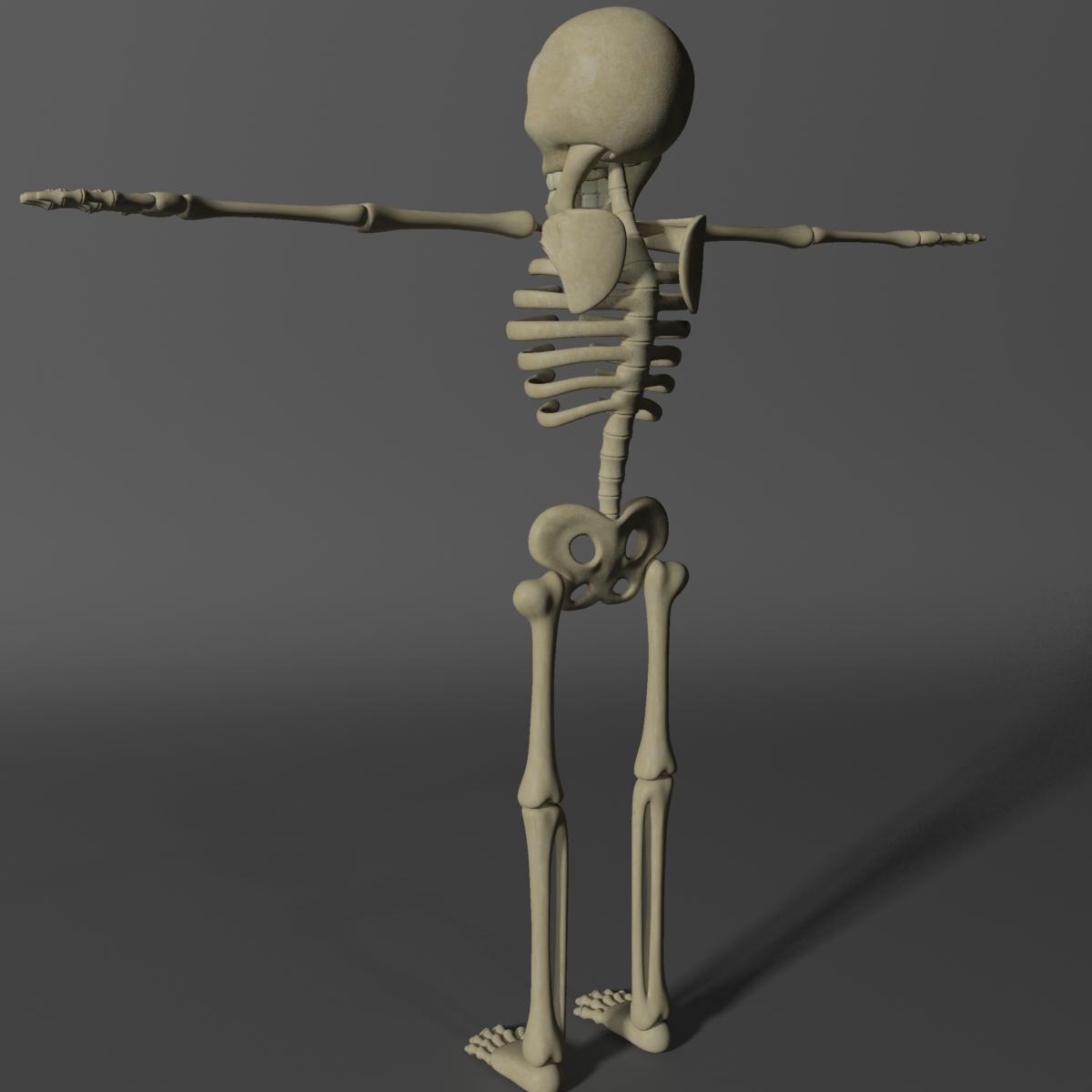 karikatūra skelets rigged 3d modelis 3ds max fbx obj 215123
