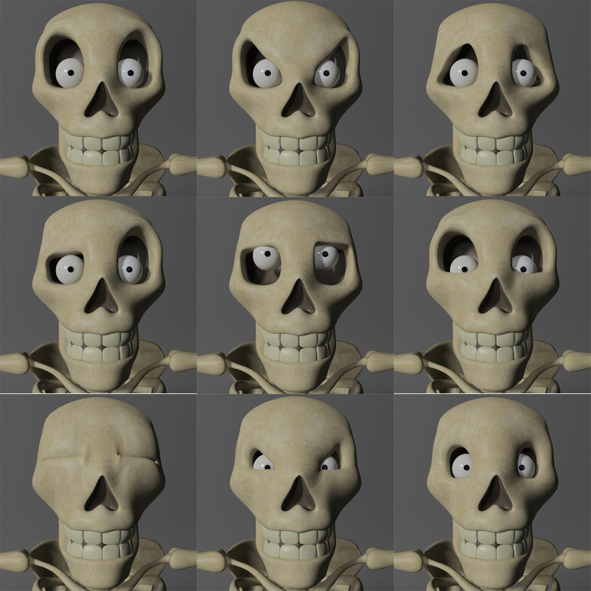 karikatūra skelets rigged 3d modelis 3ds max fbx obj 215127