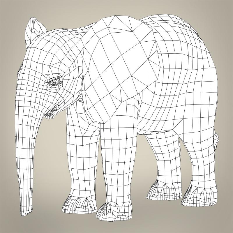 low poly realistic baby elephant 3d model 3ds max fbx c4d lwo ma mb obj 215156