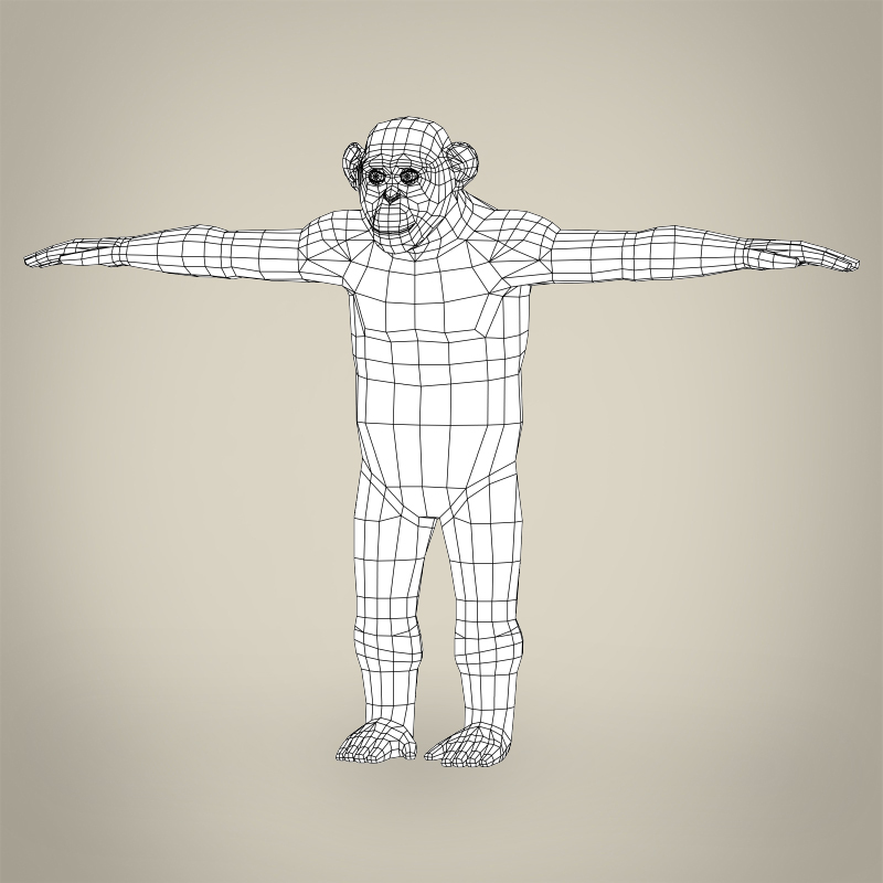 low poly realistic chimpanzee 3d model 3ds max fbx c4d lwo ma mb obj 215380