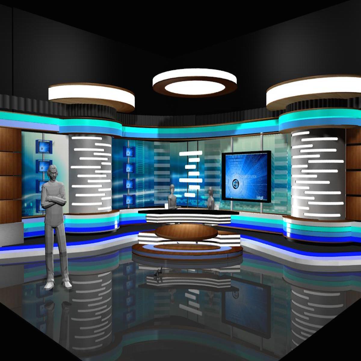 News Room Studio 002 3d model 3ds max dxf dwg fbx texture obj 215530