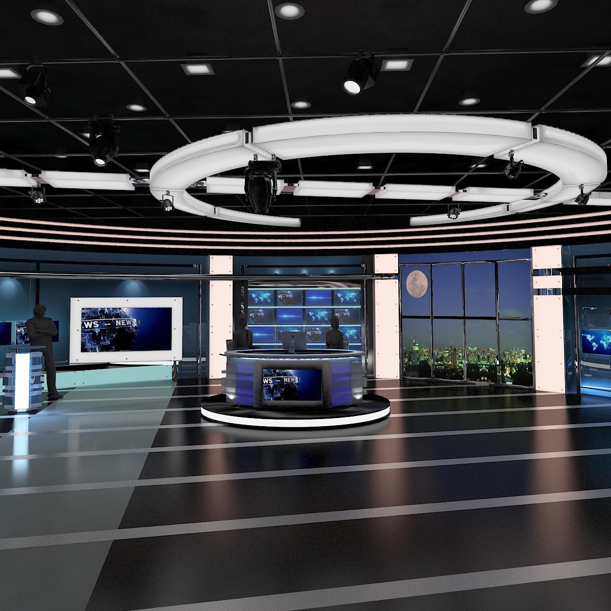 Tv virtual stage news room studio 027 3d model buy tv for Architect studio 3d online room design