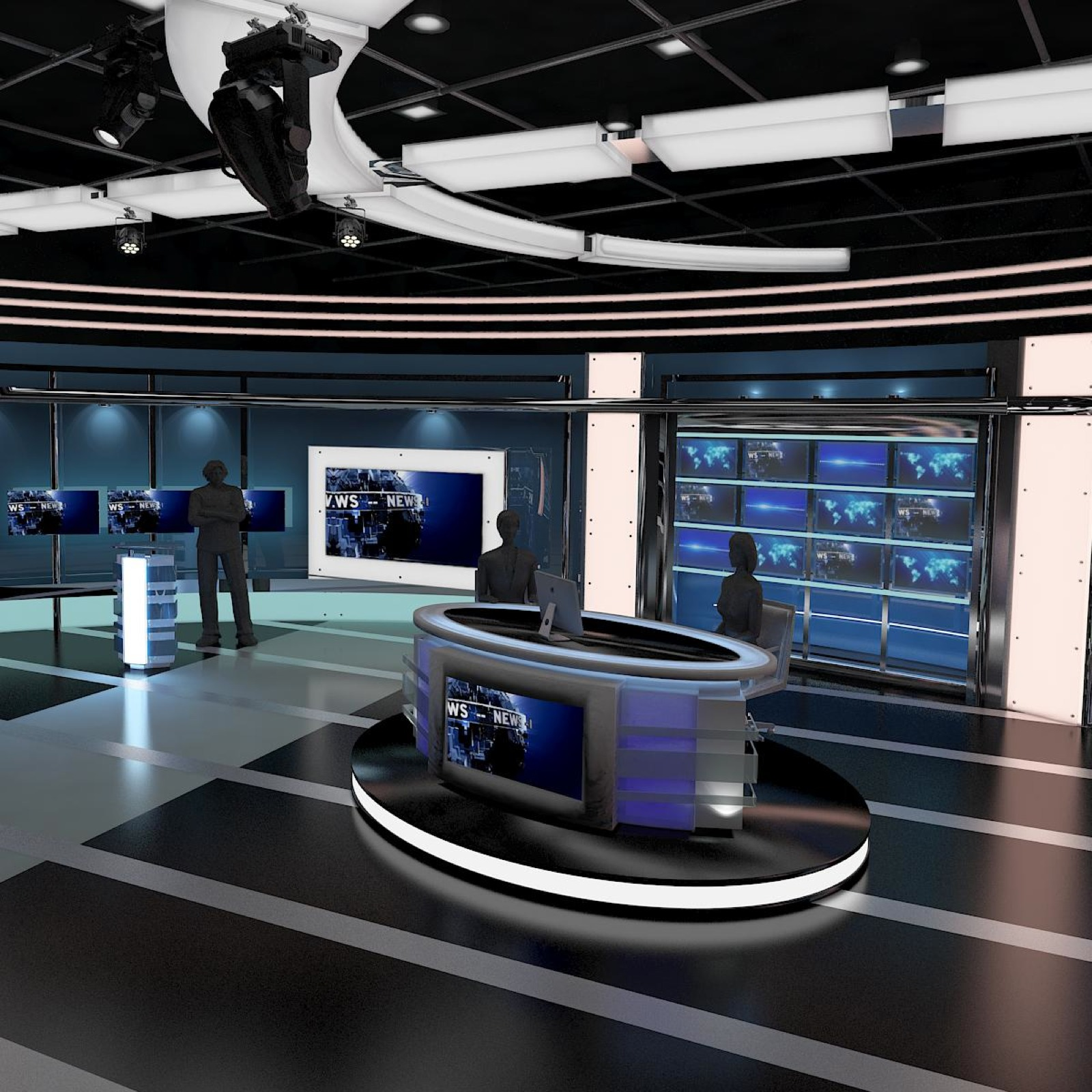 Tv Virtual Stage News Room Studio 027 3d Model Buy Tv