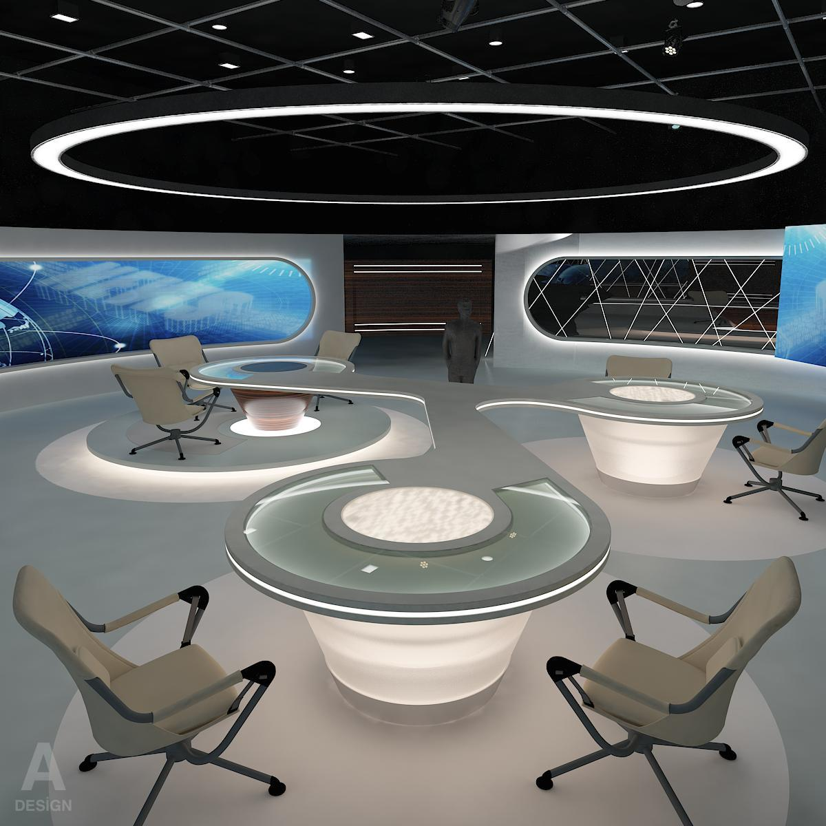 Virtual  Broadcasting TV News Studio 028 3d model max dxf fbx texture obj 215562