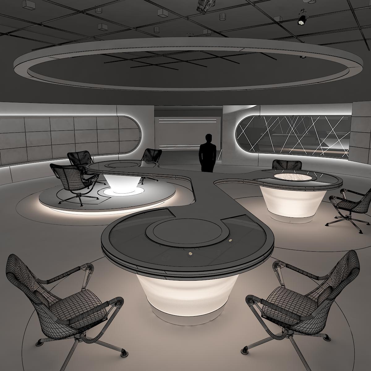 виртуал өргөн нэвтрүүлгийн телевизийн мэдээллийн студи 028 3d загвар max dxf fbx бүтэцтэй obj 215563