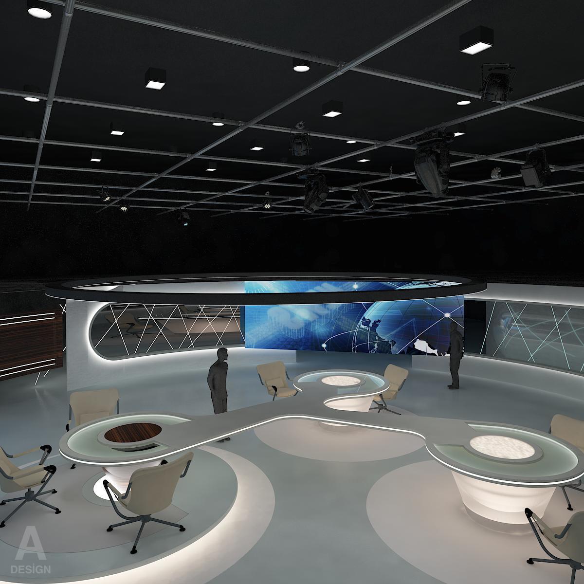 виртуал өргөн нэвтрүүлгийн телевизийн мэдээллийн студи 028 3d загвар max dxf fbx бүтэцтэй obj 215564
