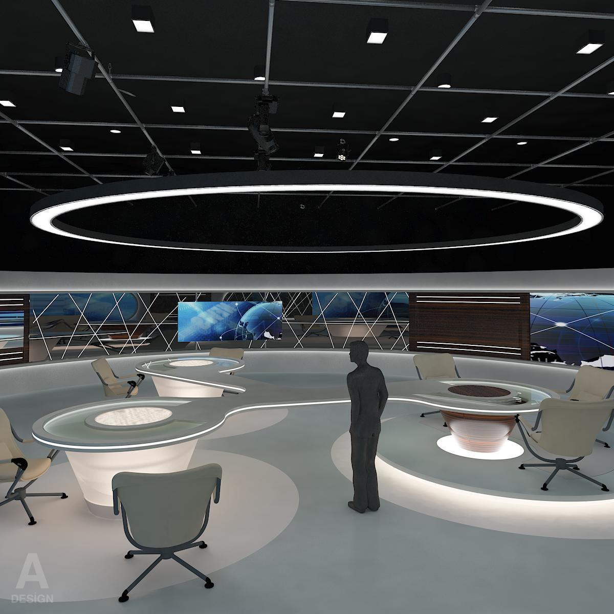 виртуал өргөн нэвтрүүлгийн телевизийн мэдээллийн студи 028 3d загвар max dxf fbx бүтэцтэй obj 215565