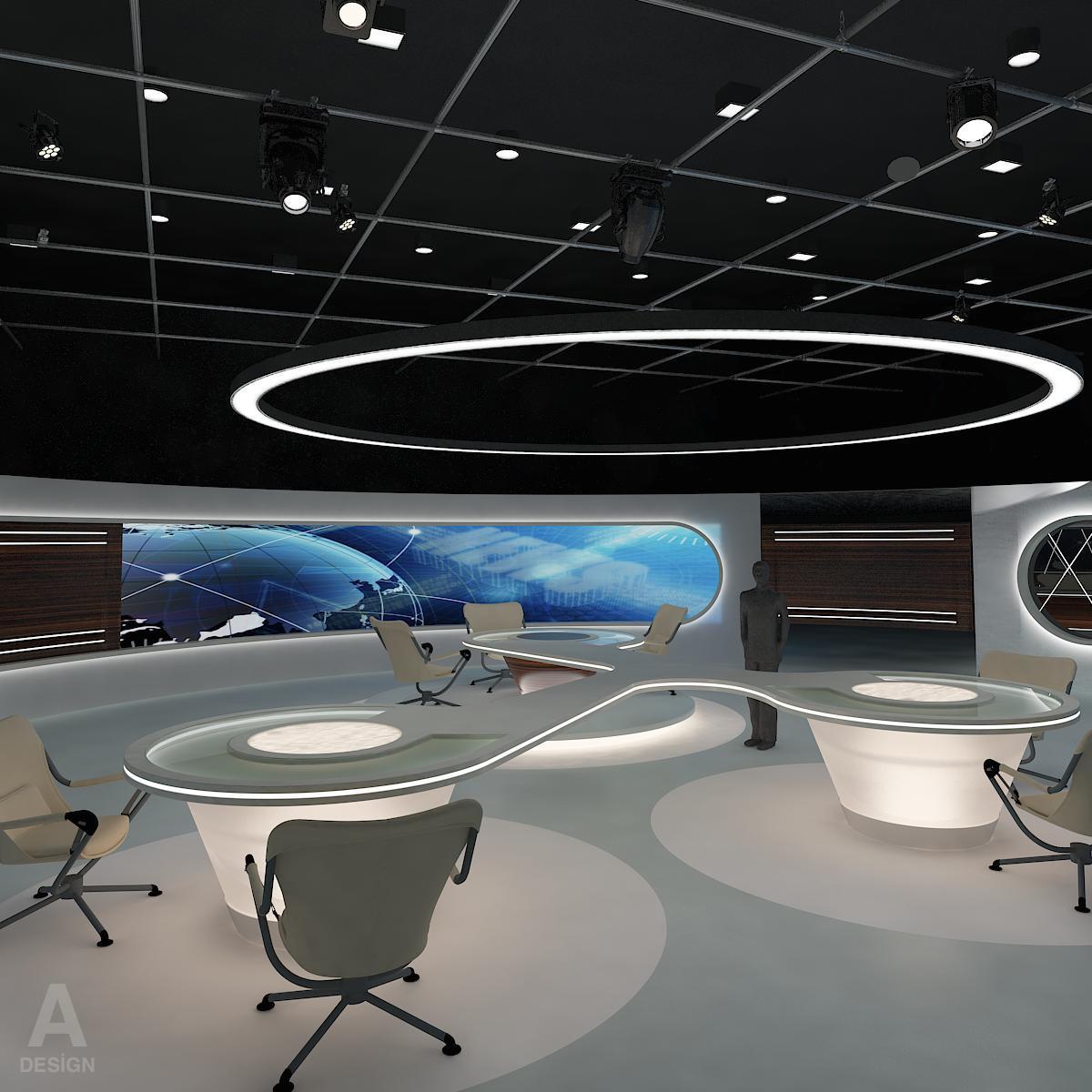 виртуал өргөн нэвтрүүлгийн телевизийн мэдээллийн студи 028 3d загвар max dxf fbx бүтэцтэй obj 215566
