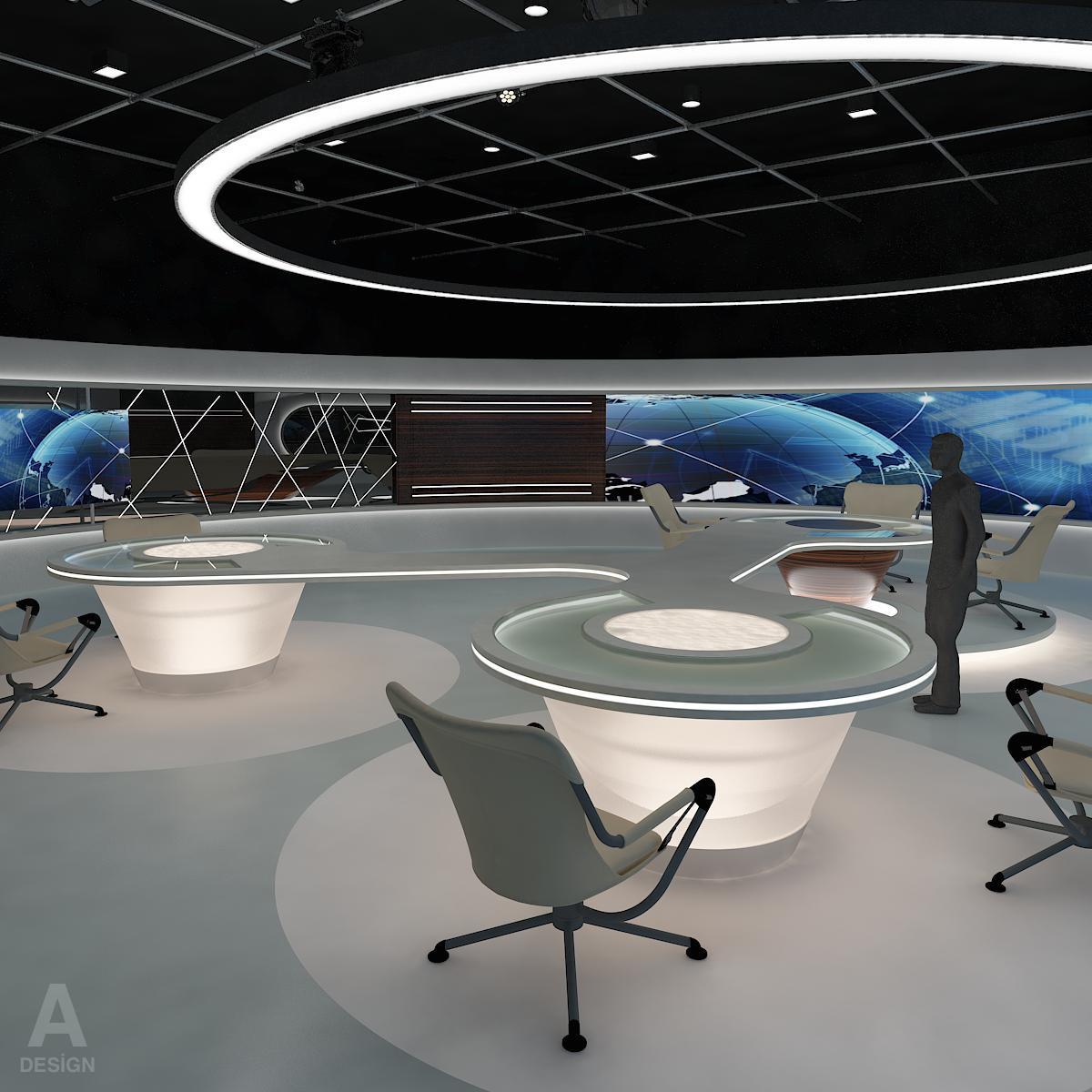 виртуал өргөн нэвтрүүлгийн телевизийн мэдээллийн студи 028 3d загвар max dxf fbx бүтэцтэй obj 215569