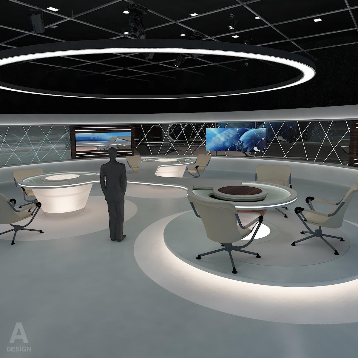 виртуал өргөн нэвтрүүлгийн телевизийн мэдээллийн студи 028 3d загвар max dxf fbx бүтэцтэй obj 215570