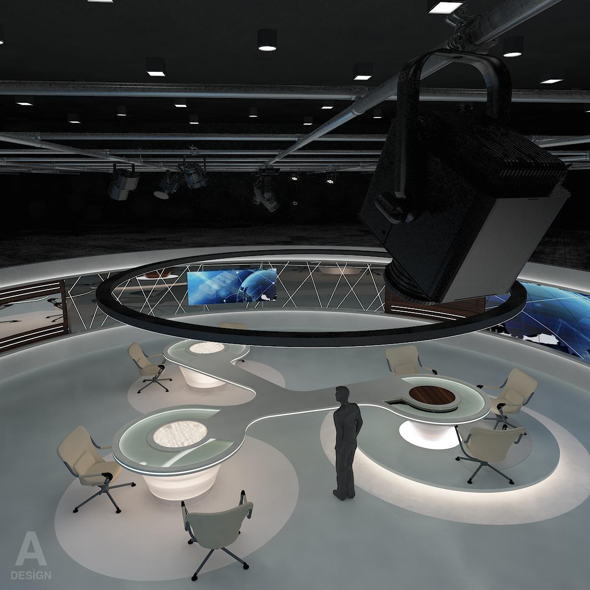 виртуал өргөн нэвтрүүлгийн телевизийн мэдээллийн студи 028 3d загвар max dxf fbx бүтэцтэй obj 215571