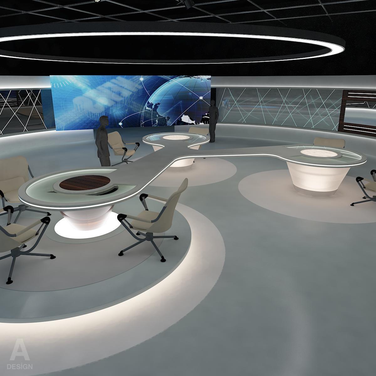 виртуал өргөн нэвтрүүлгийн телевизийн мэдээллийн студи 028 3d загвар max dxf fbx бүтэцтэй obj 215575