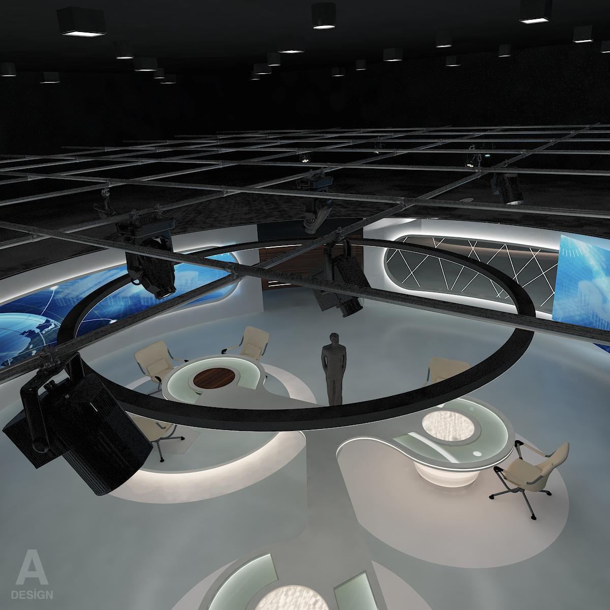 виртуал өргөн нэвтрүүлгийн телевизийн мэдээллийн студи 028 3d загвар max dxf fbx бүтэцтэй obj 215576