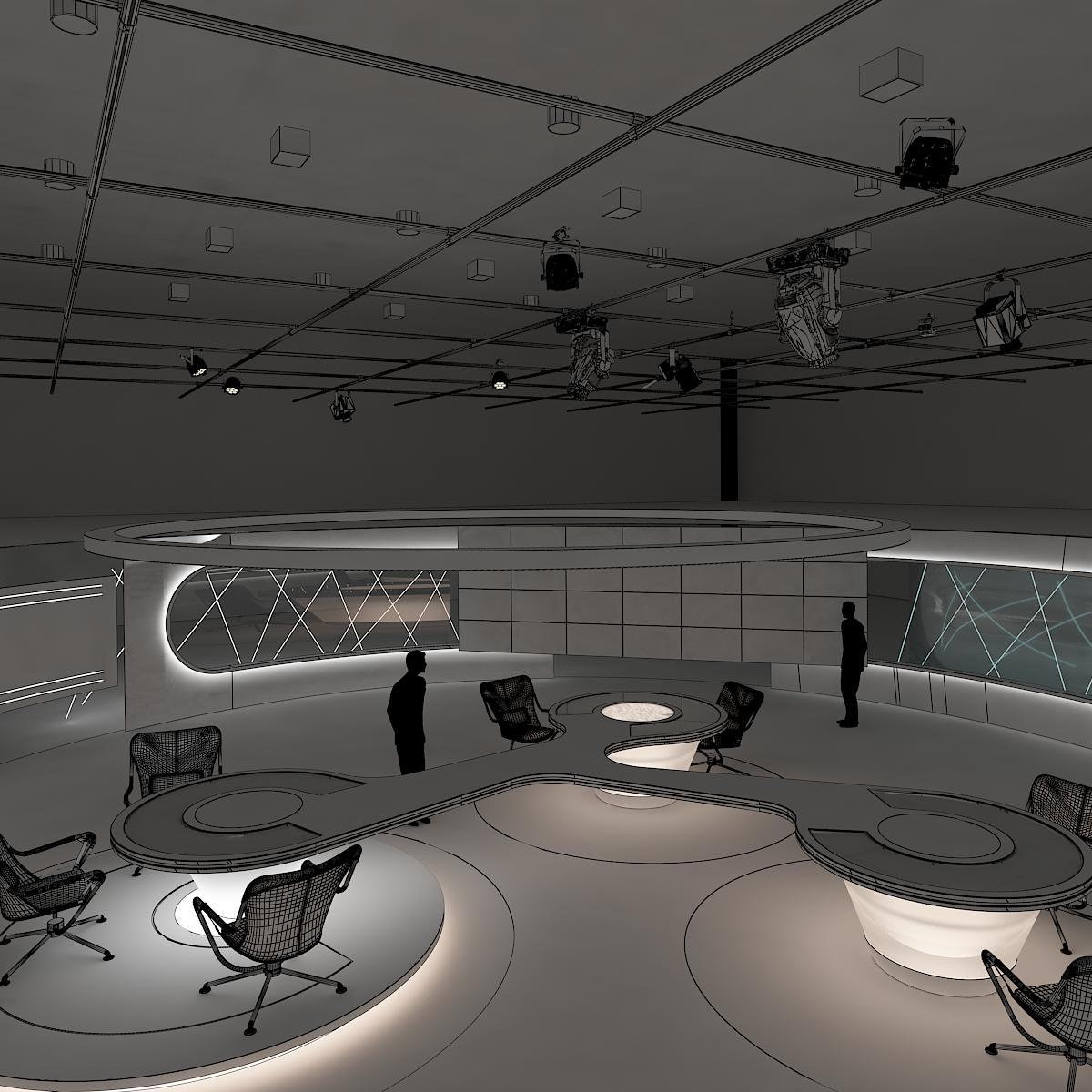 виртуал өргөн нэвтрүүлгийн телевизийн мэдээллийн студи 028 3d загвар max dxf fbx бүтэцтэй obj 215584