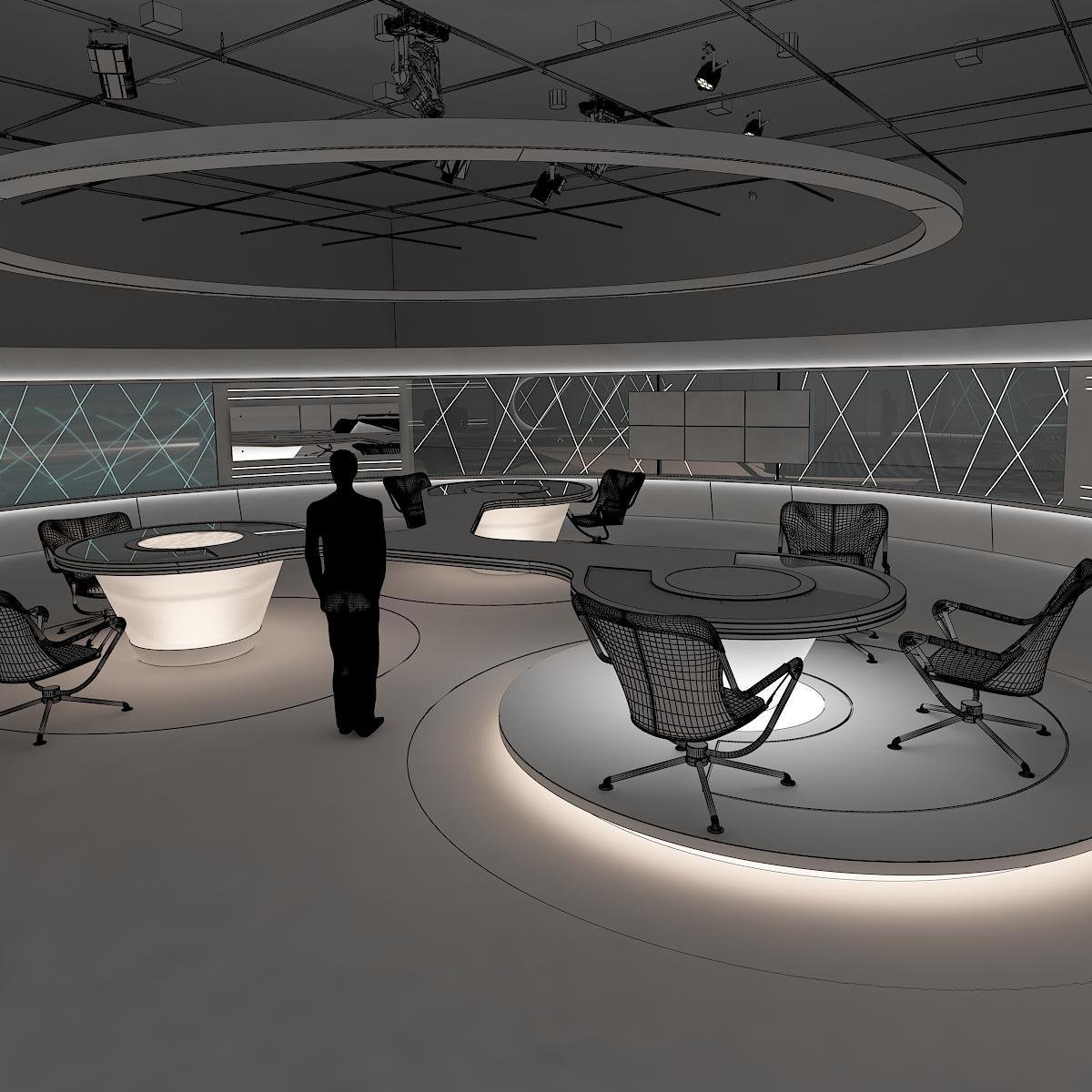 виртуал өргөн нэвтрүүлгийн телевизийн мэдээллийн студи 028 3d загвар max dxf fbx бүтэцтэй obj 215587