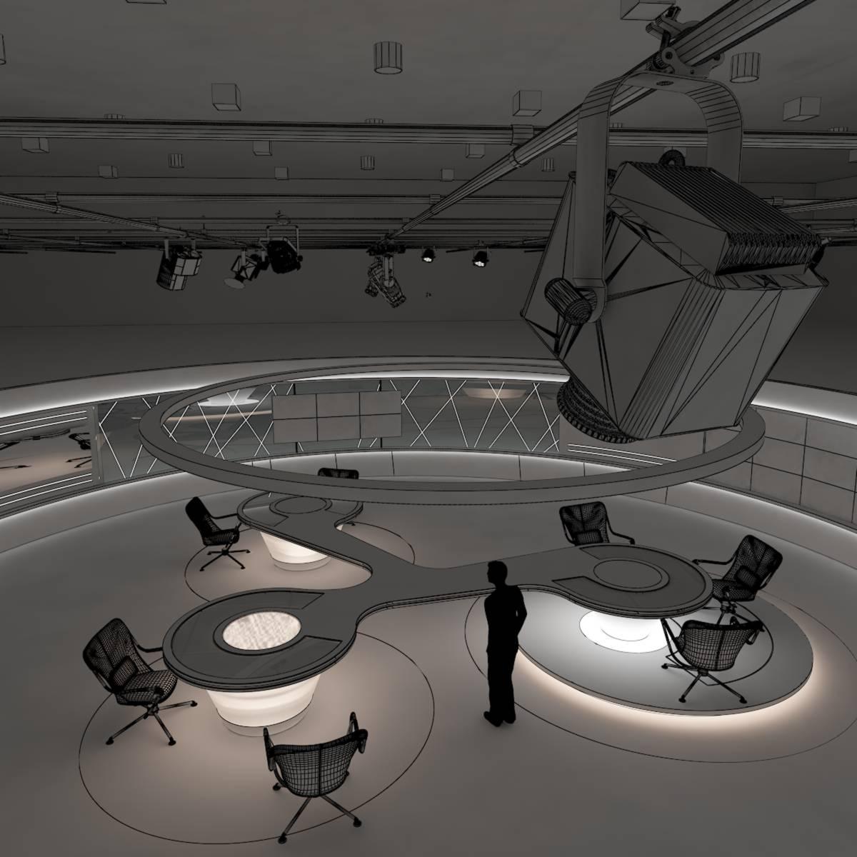 виртуал өргөн нэвтрүүлгийн телевизийн мэдээллийн студи 028 3d загвар max dxf fbx бүтэцтэй obj 215589