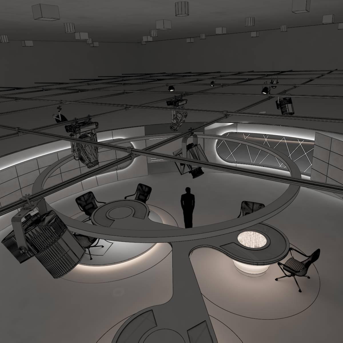 виртуал өргөн нэвтрүүлгийн телевизийн мэдээллийн студи 028 3d загвар max dxf fbx бүтэцтэй obj 215593
