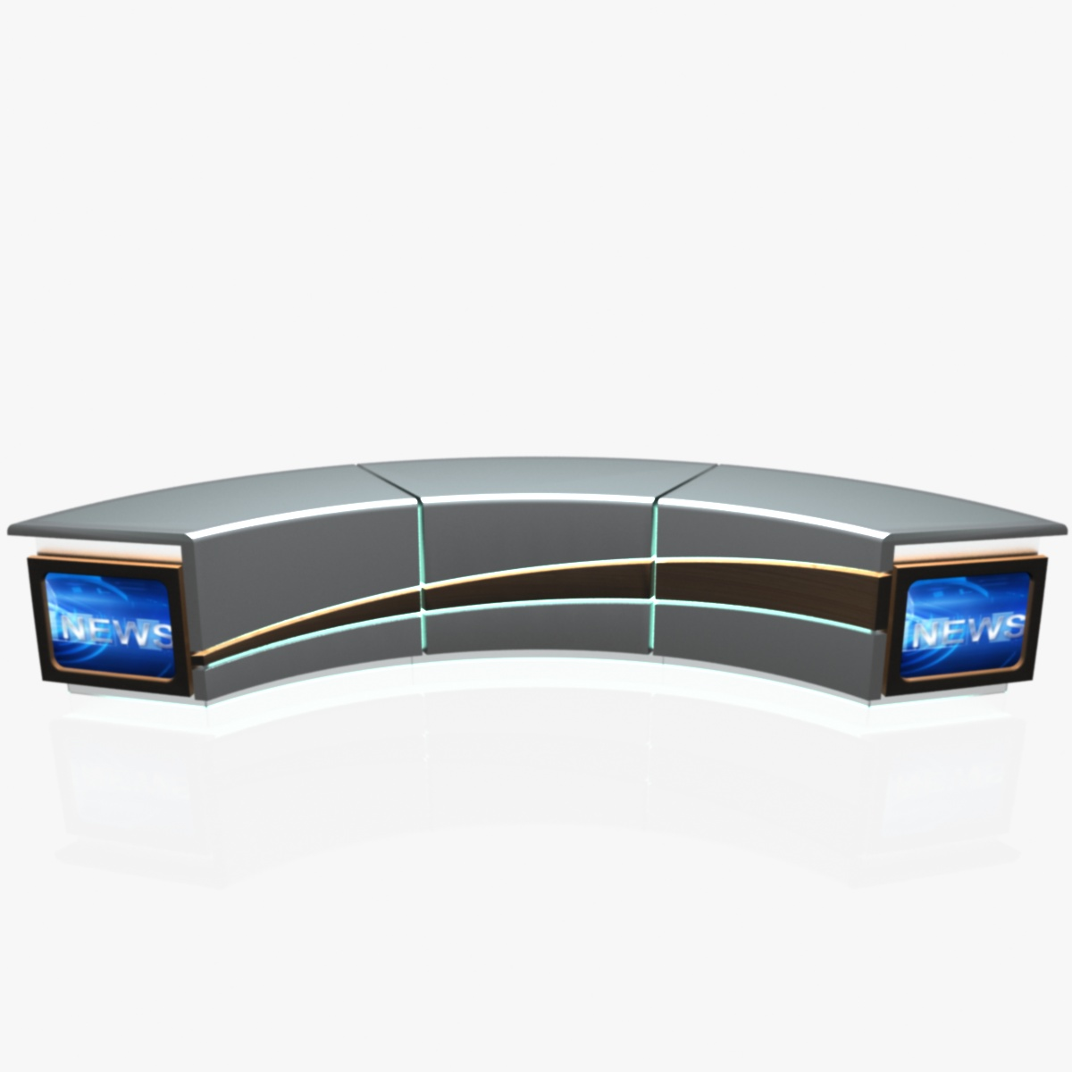 virtual tv studio news desk 4 3d model 3ds max dxf fbx  obj 215937