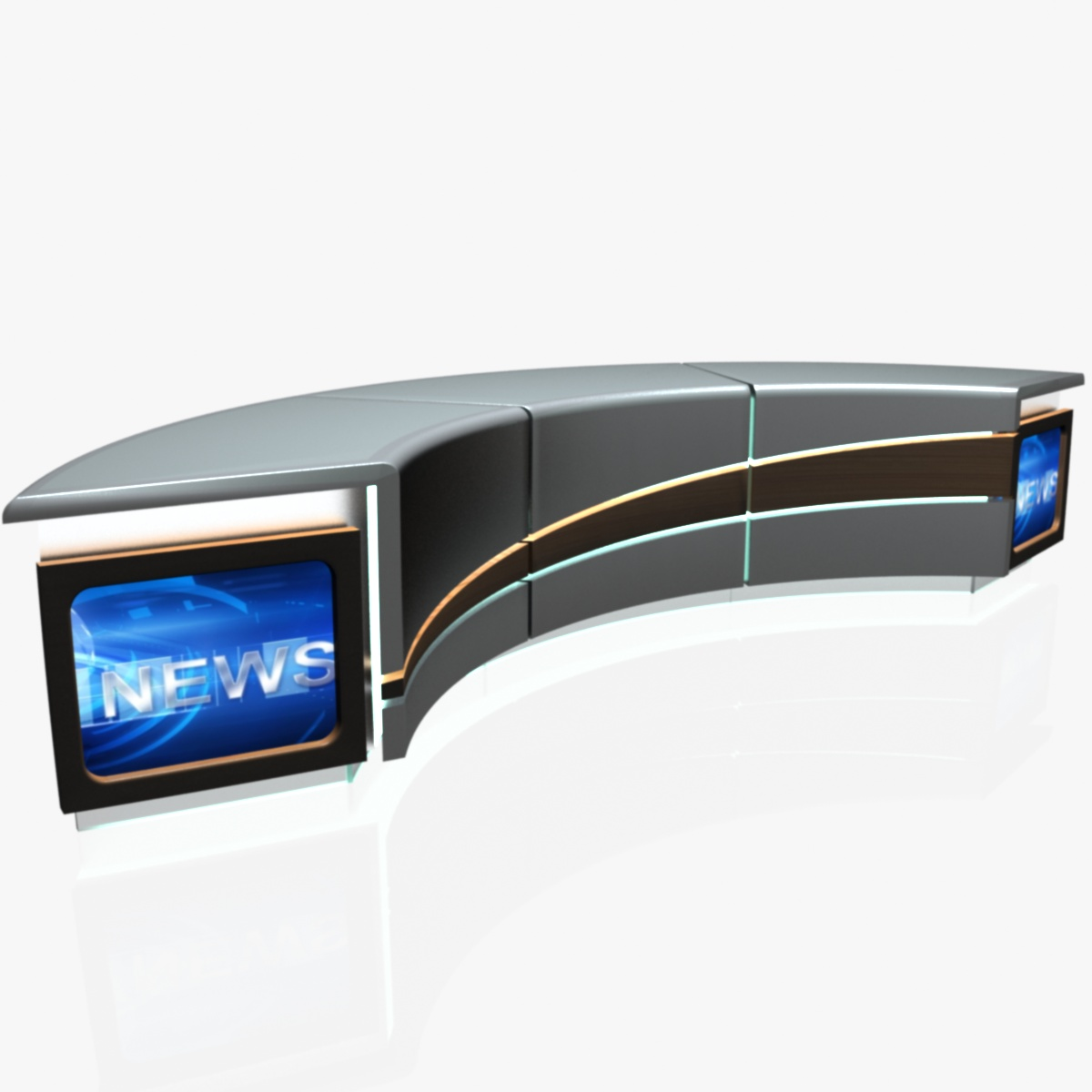 virtual tv studio news desk 4 3d model 3ds max dxf fbx  obj 215938