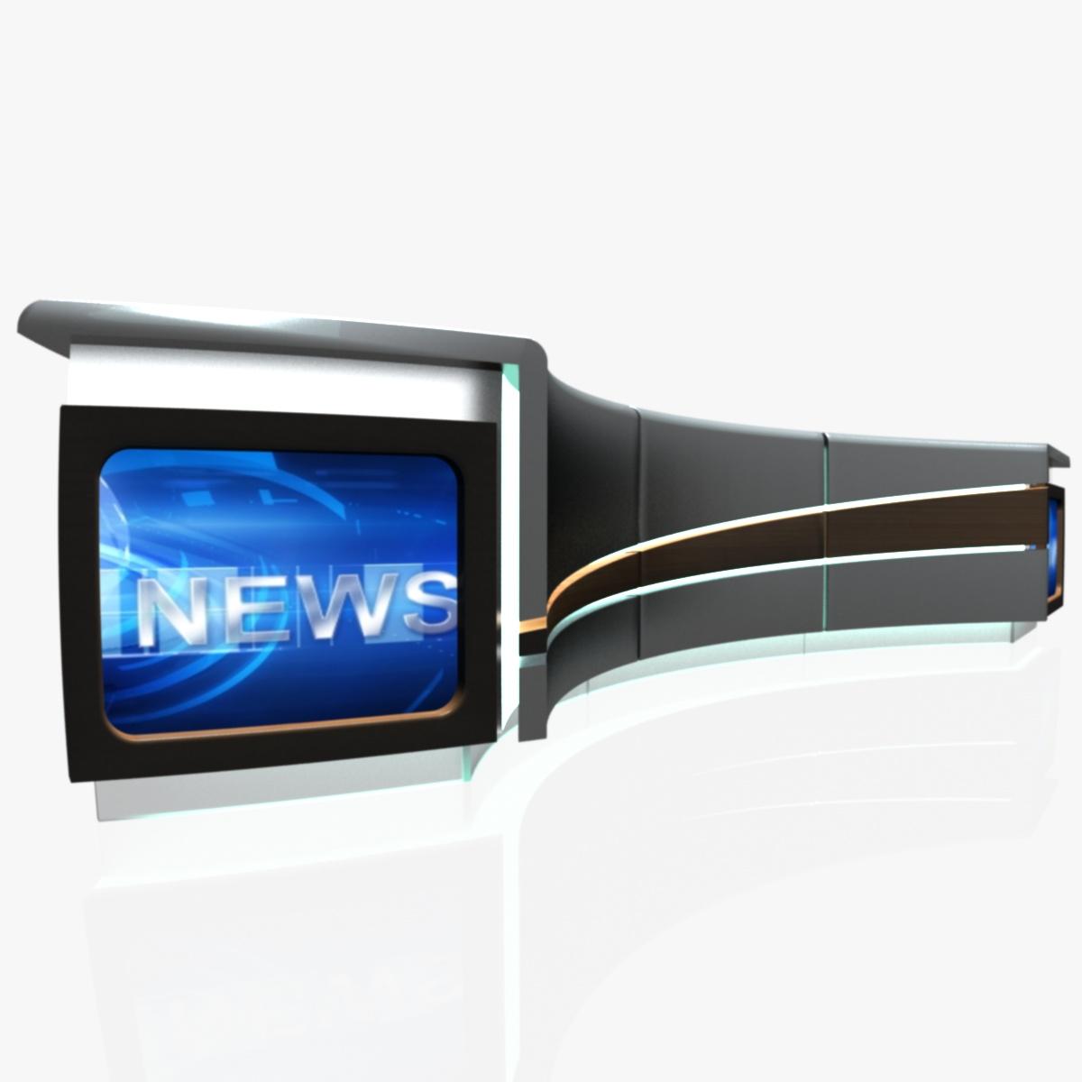 virtual tv studio news desk 4 3d model 3ds max dxf fbx  obj 215939