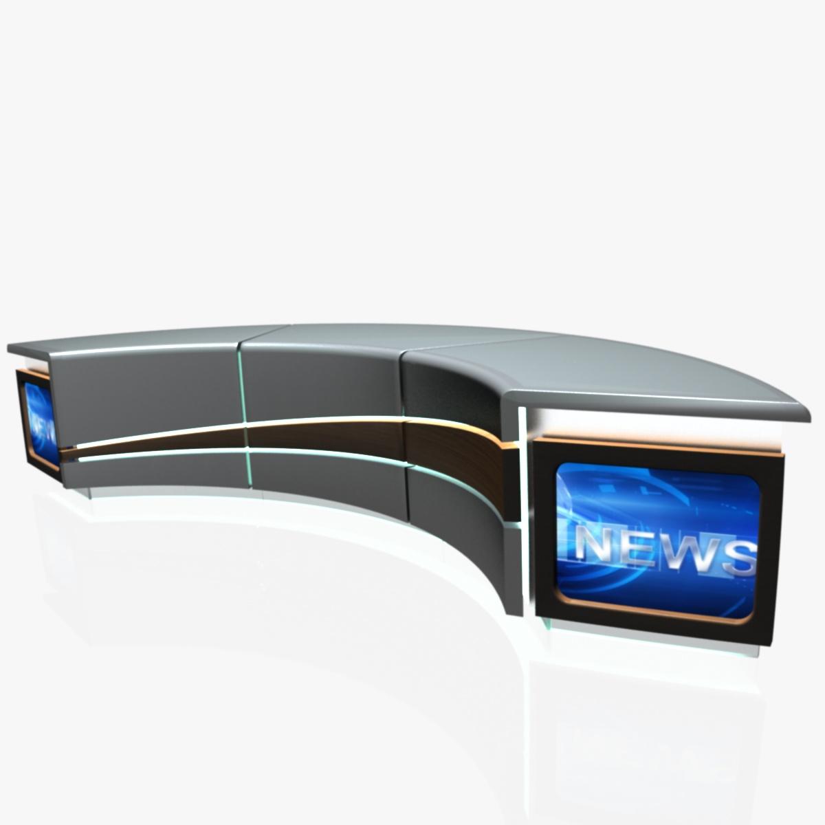 virtual tv studio news desk 4 3d model 3ds max dxf fbx  obj 215940