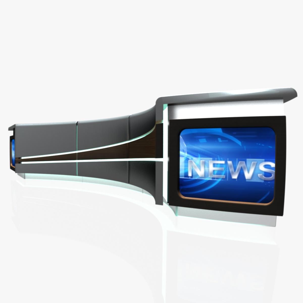 virtual tv studio news desk 4 3d model 3ds max dxf fbx  obj 215941