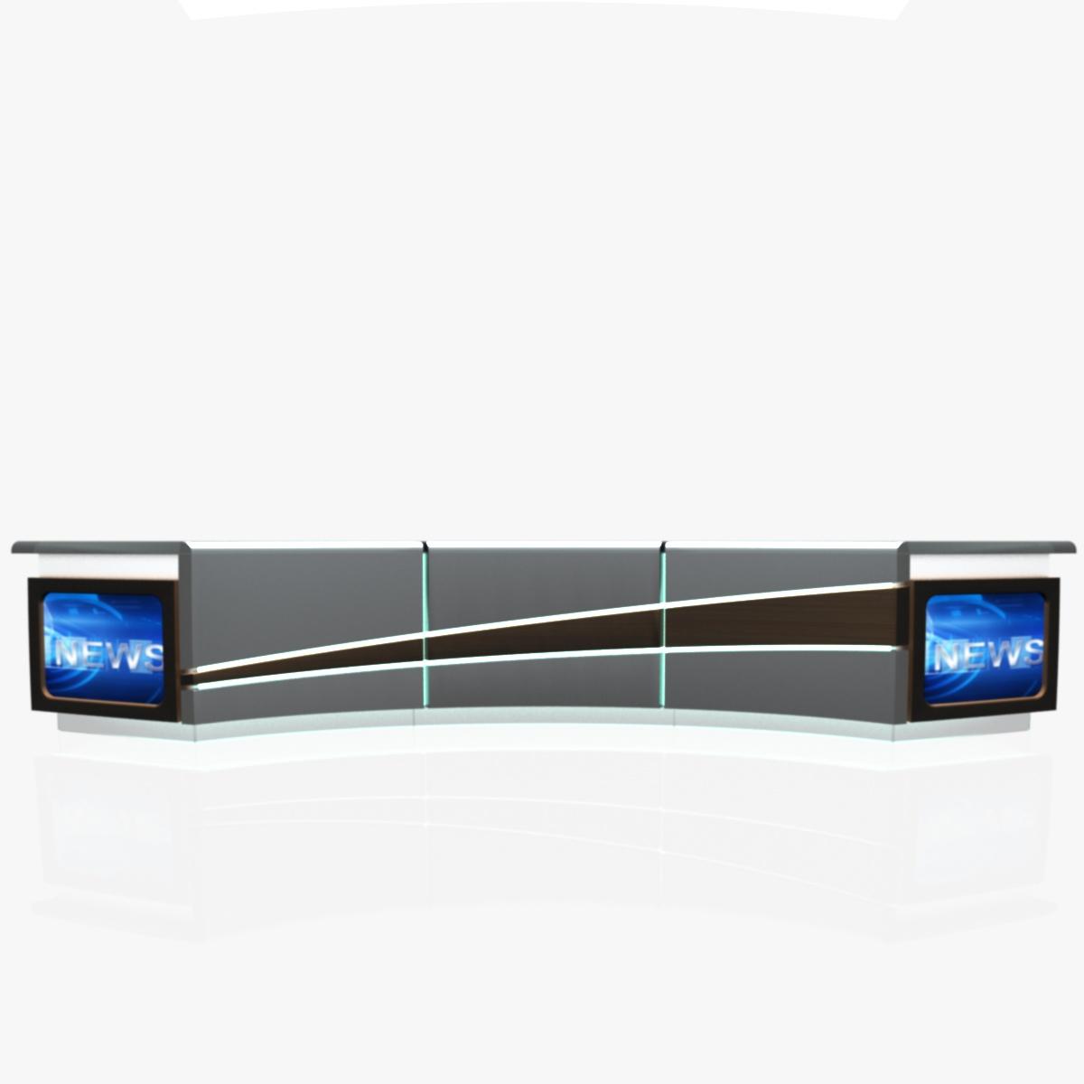 virtual tv studio news desk 4 3d model 3ds max dxf fbx  obj 215942