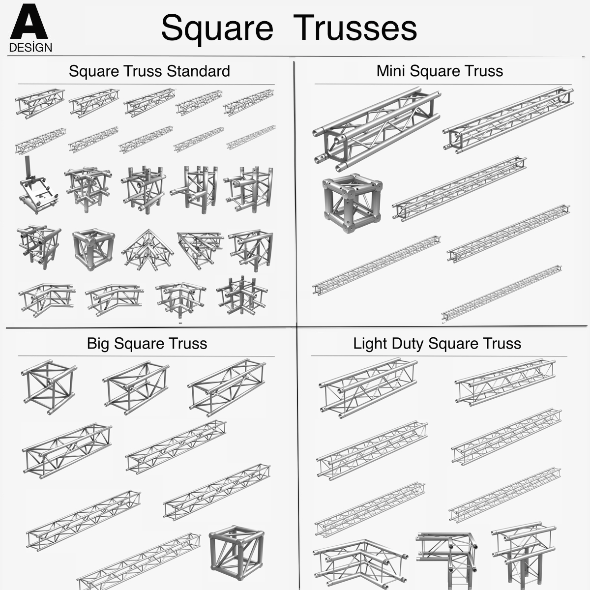 square light trusses (collection 50 modular) 3d model 3ds max dxf fbx c4d dae texture obj 216165