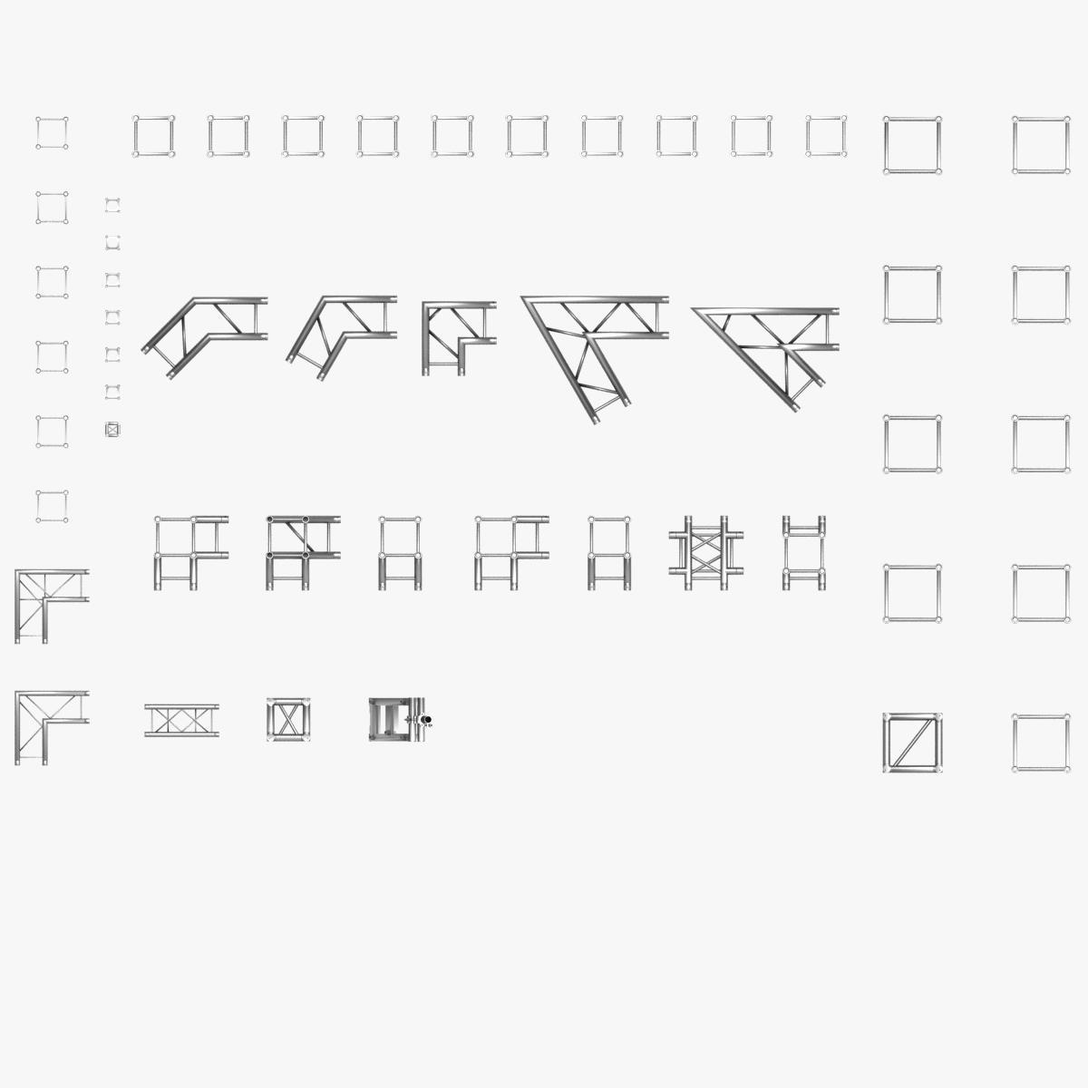 square light trusses (collection 50 modular) 3d model 3ds max dxf fbx c4d dae texture obj 216167