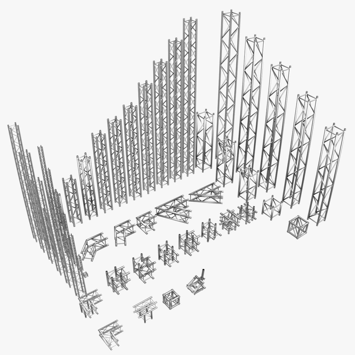 square light trusses (collection 50 modular) 3d model 3ds max dxf fbx c4d dae texture obj 216168