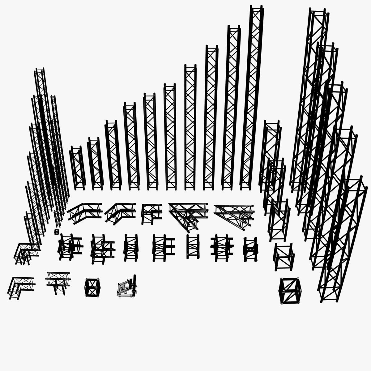 square light trusses (collection 50 modular) 3d model 3ds max dxf fbx c4d dae texture obj 216170