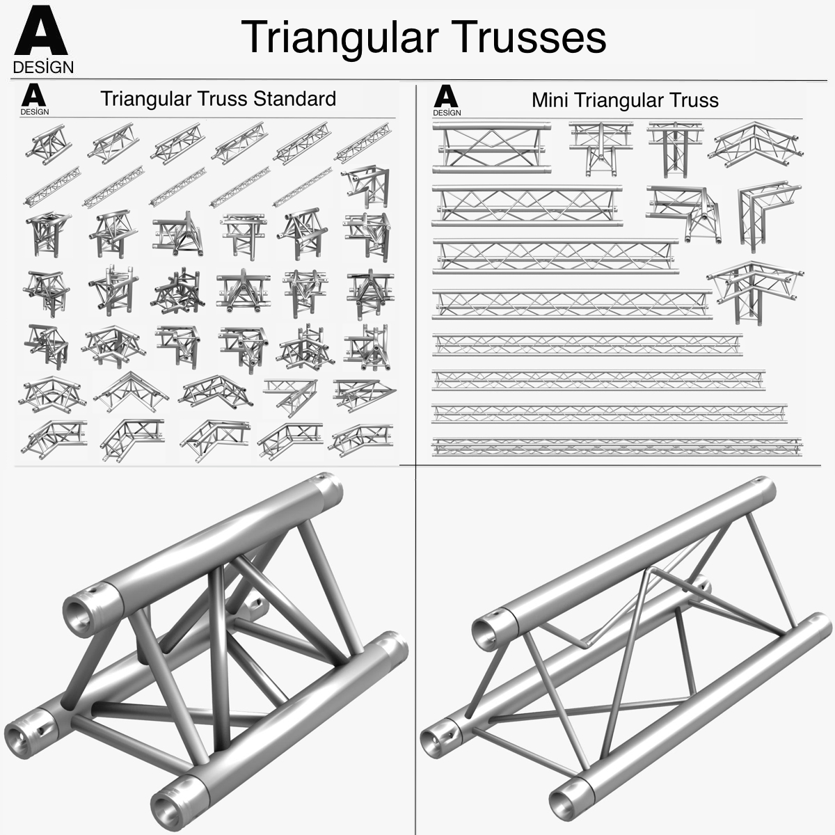 triangular trusses (collection 55 modular pieces) 3d model 3ds max dxf fbx c4d dae texture obj 216206