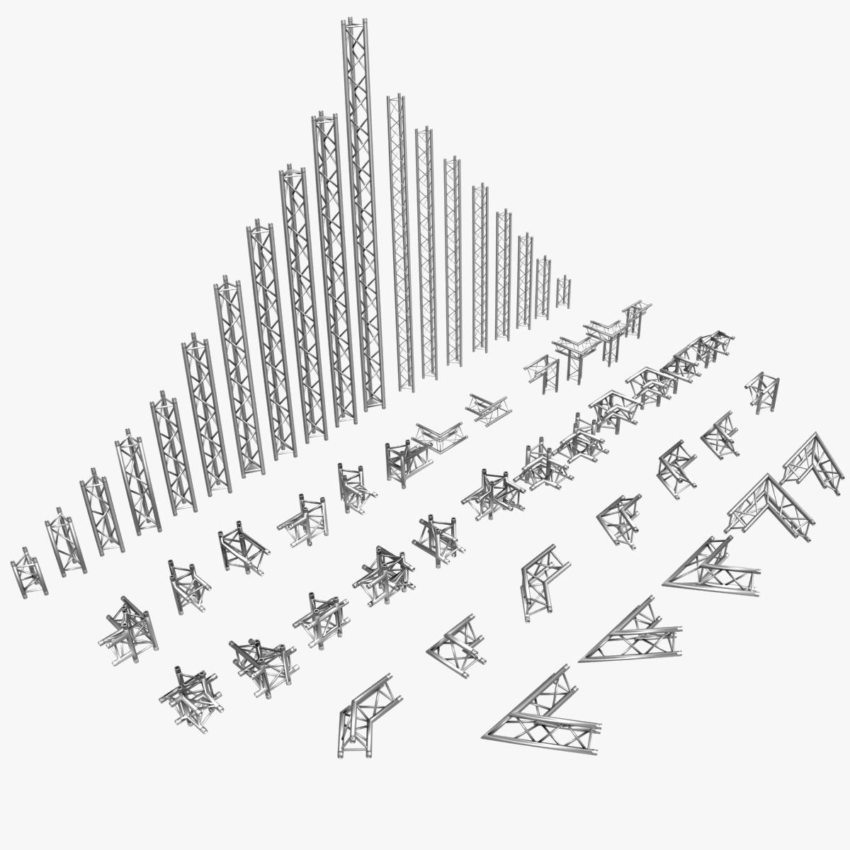 triangular trusses (collection 55 modular pieces) 3d model 3ds max dxf fbx c4d dae texture obj 216208