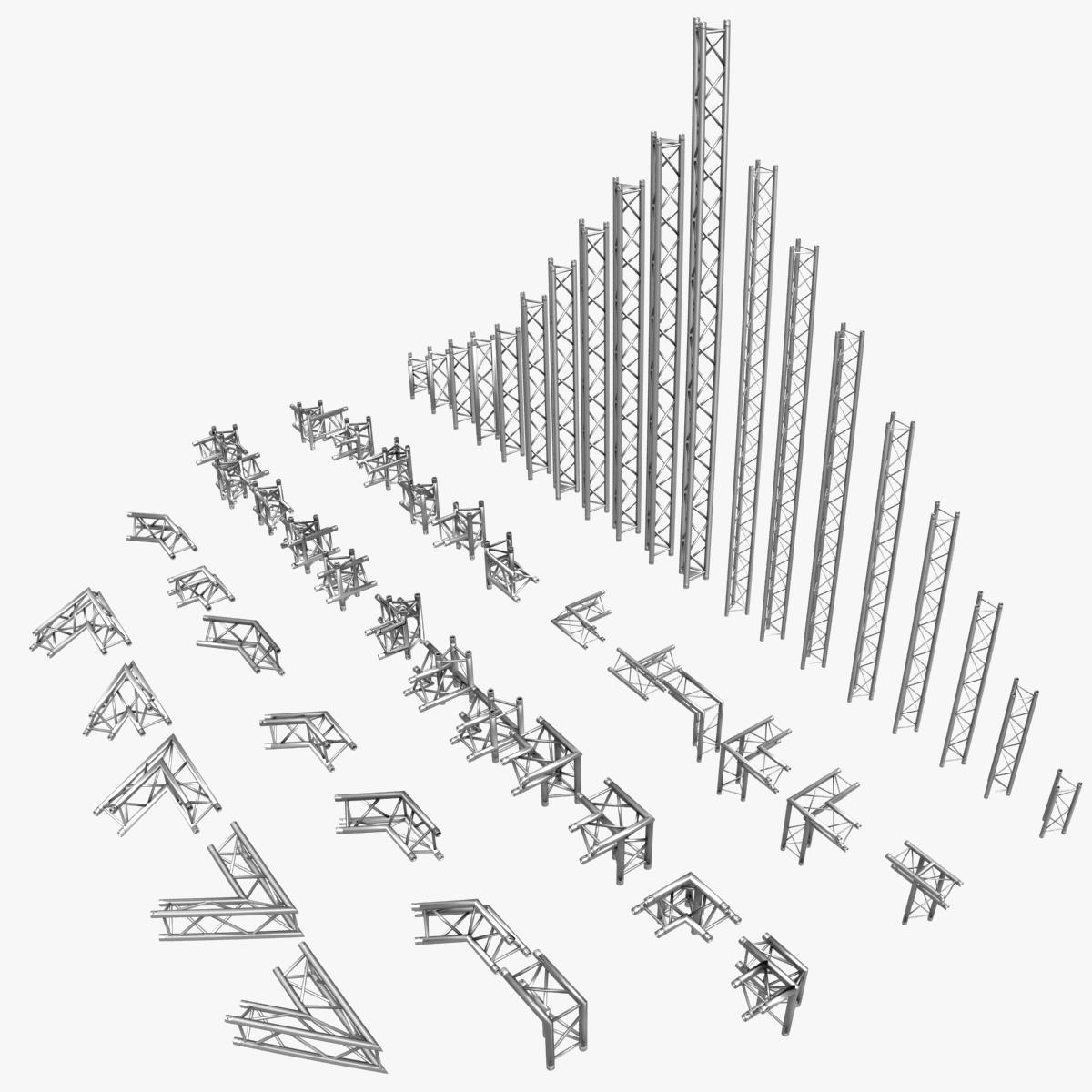 triangular trusses (collection 55 modular pieces) 3d model 3ds max dxf fbx c4d dae texture obj 216209