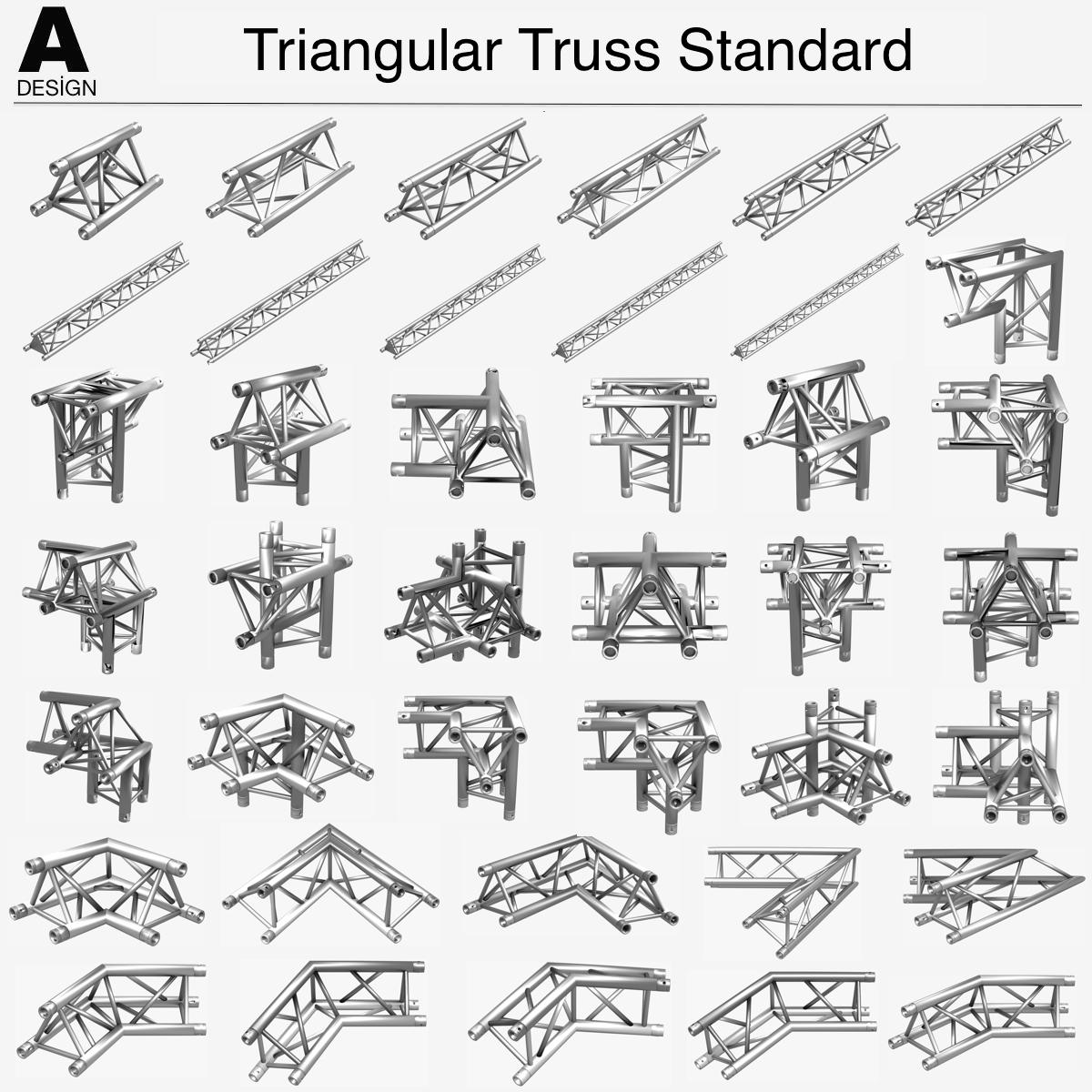 triangular trusses (collection 55 modular pieces) 3d model 3ds max dxf fbx c4d dae texture obj 216211