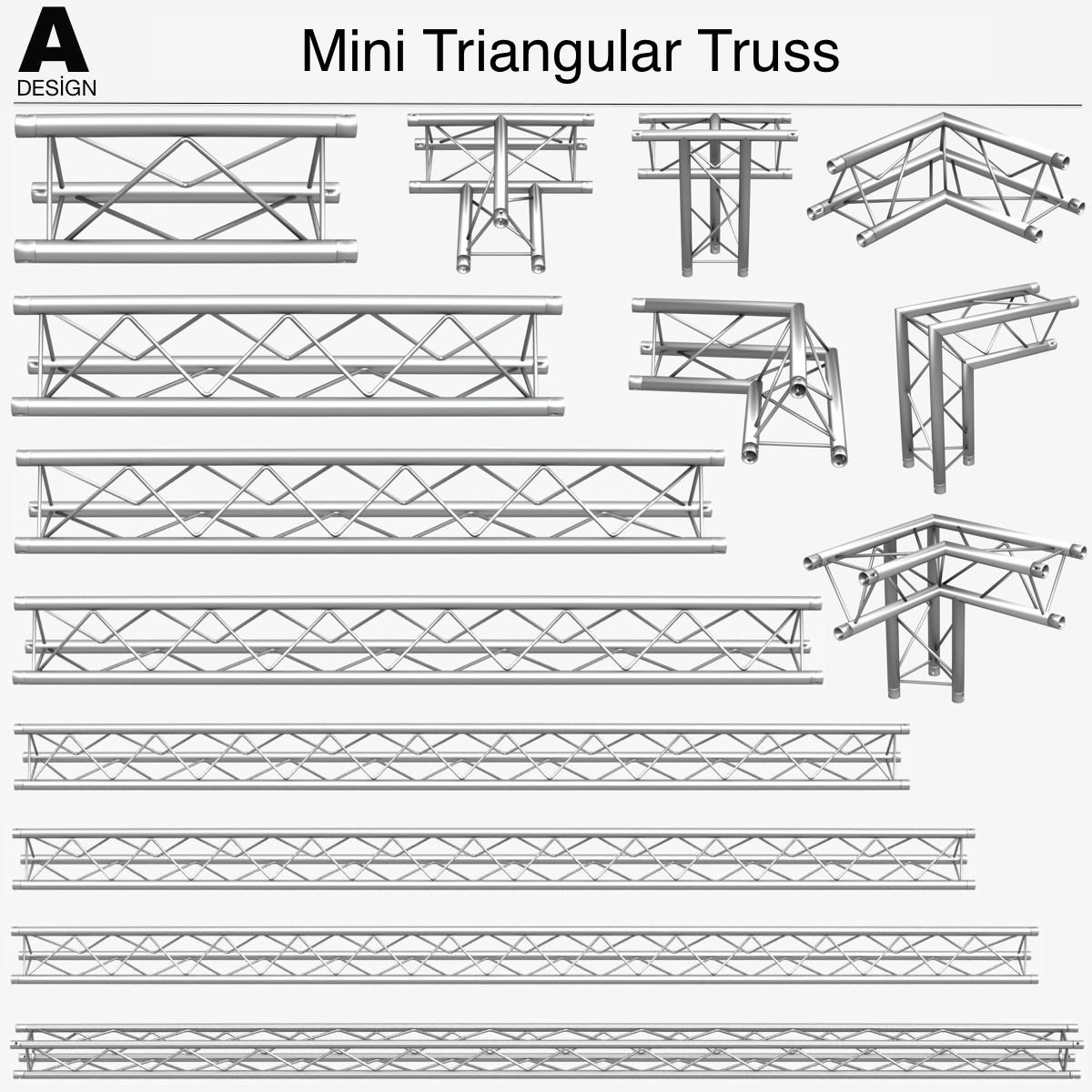 triangular trusses (collection 55 modular pieces) 3d model 3ds max dxf fbx c4d dae texture obj 216212