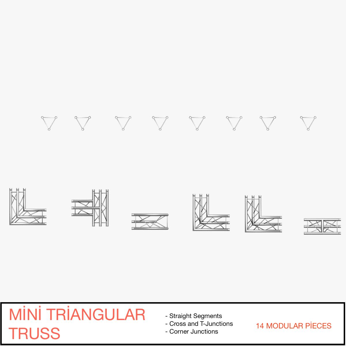 triangular trusses (collection 55 modular pieces) 3d model 3ds max dxf fbx c4d dae texture obj 216213