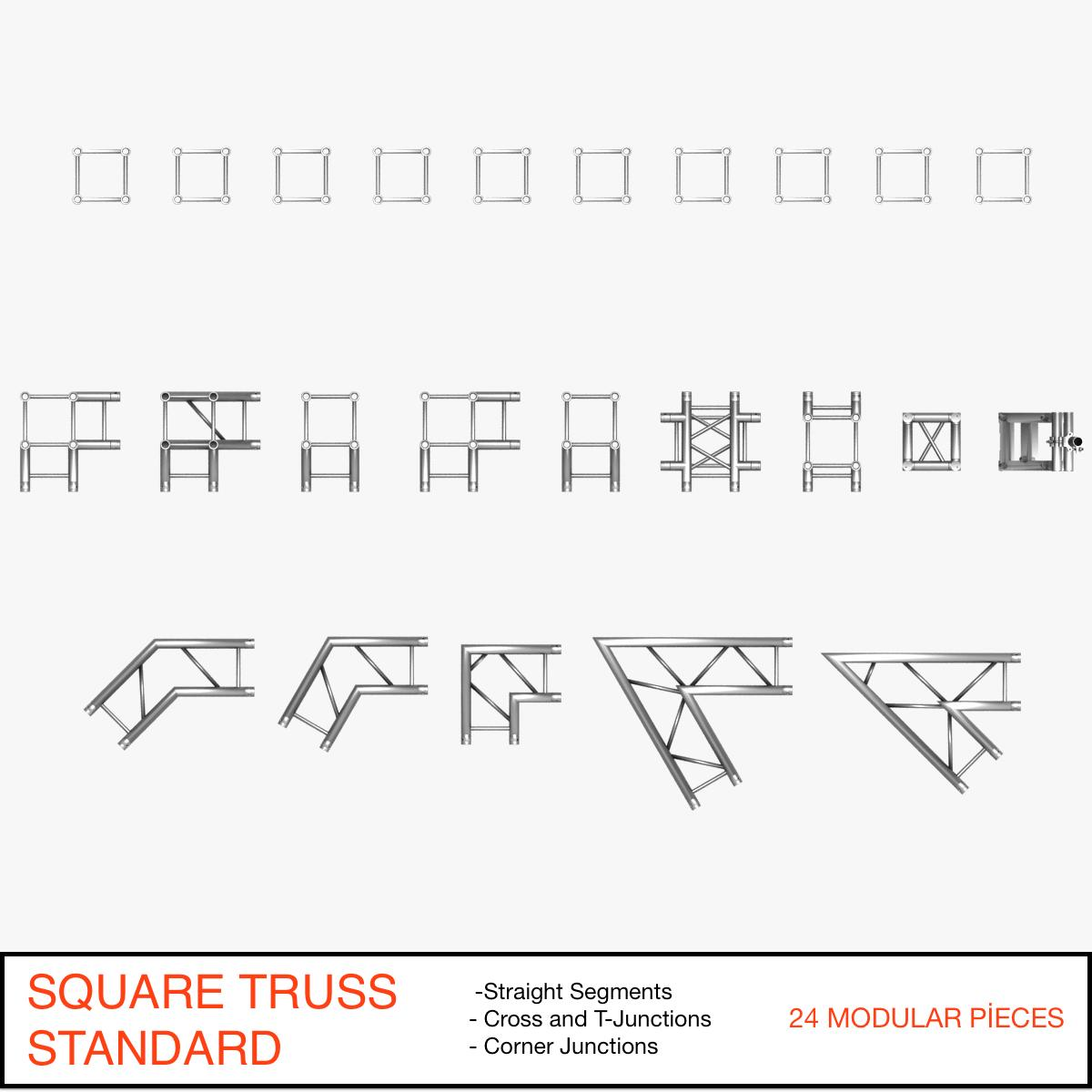 square truss standard (collection 24 modular) 3d model 3ds max dxf fbx c4d dae  texture obj 216325