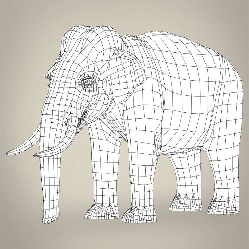 low poly realistic elephant 3d model 3ds max fbx c4d lwo ma mb obj 216583