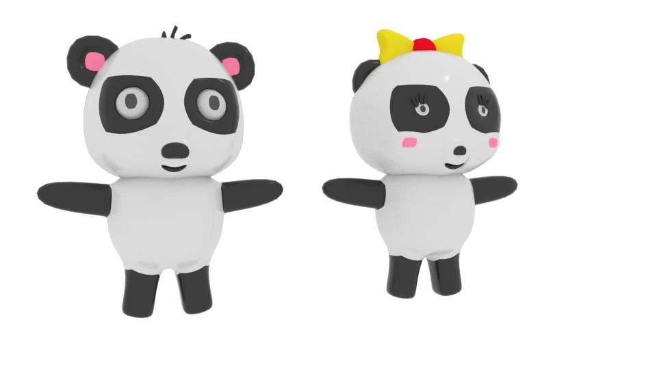 teiknimynd panda 3d líkan blanda 216692