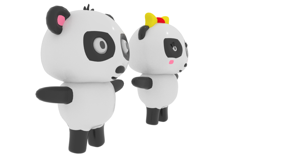 cartoon panda 3d model blend 216694