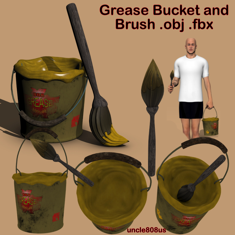 grease bucket and brush.ob.fbx 3d model fbx obj 216713
