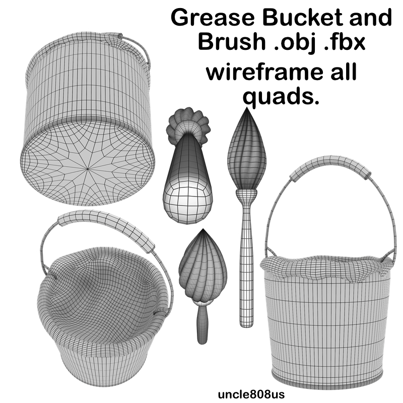 grease bucket and brush.ob.fbx 3d model fbx obj 216714