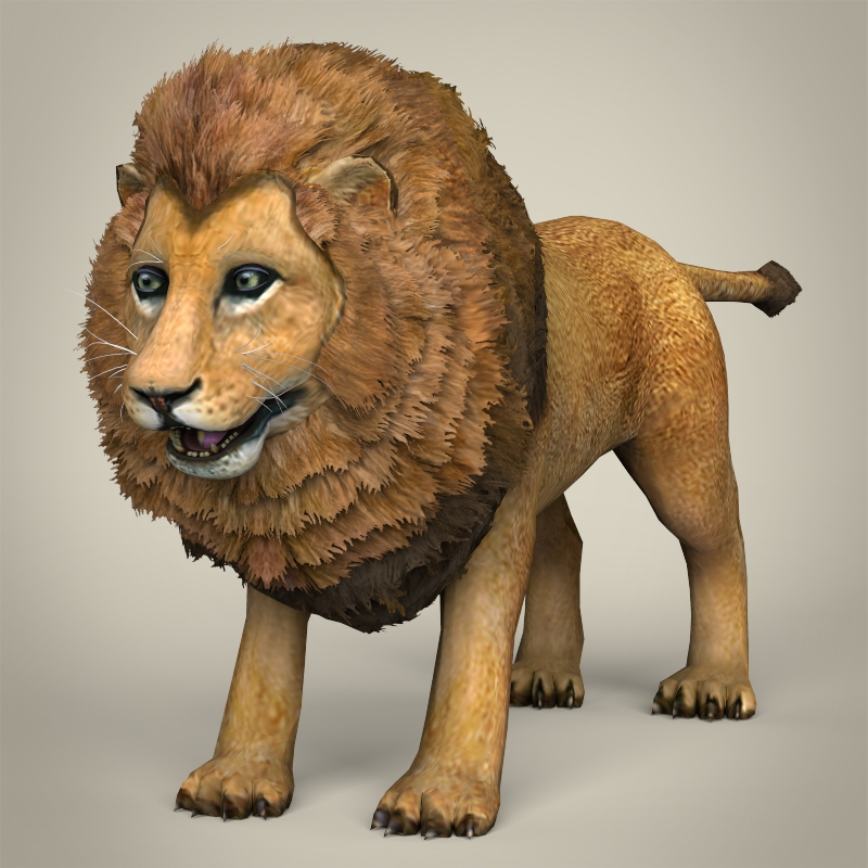 low poly realistic lion 3d model 3ds max fbx c4d lwo ma mb obj 216761