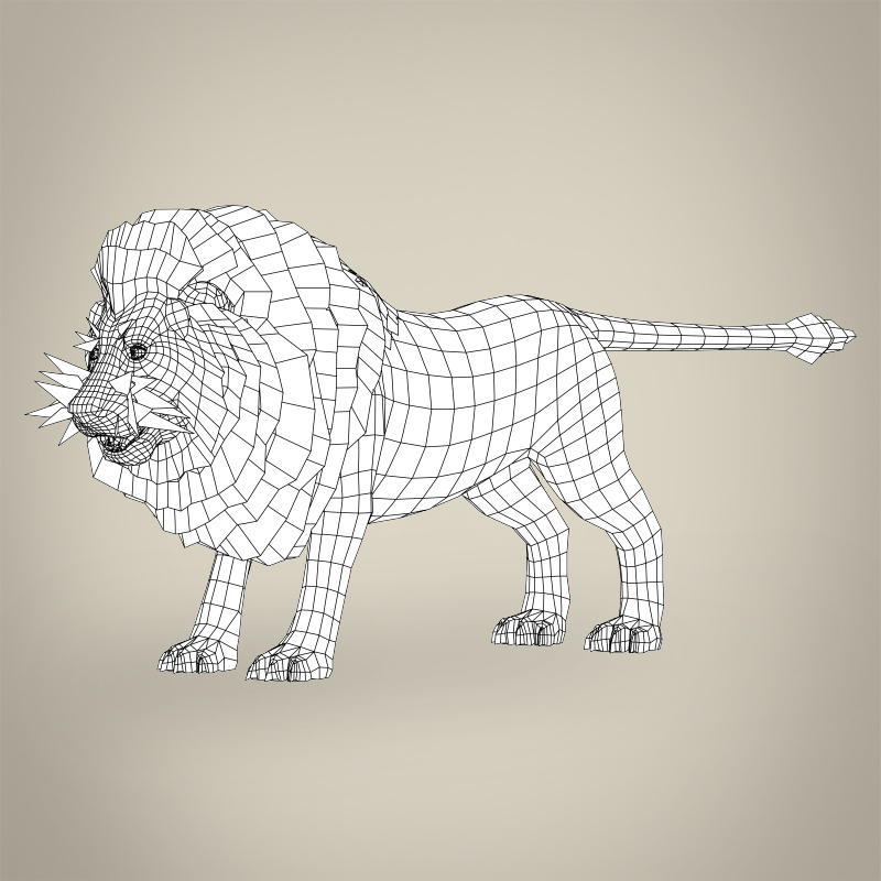 zems poli reālistisks lauva 3d modelis 3ds max fbx c4d lwo ma mb obj 216768